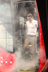 19.08.2014, Allianz Arena, Muenchen, GER, 1. FBL, FC Bayern Muenchen, Praesentation Mannschaftsbus Lions Coach, im Bild Thiago Alcantara #6 (FC Bayern Muenchen) kommt aus dem Bus // during the Presentation of the Lions Coach of German Bundesliga Club FC Bayern Munich at the Allianz Arena in Muenchen, Germany on 2014/08/19. EXPA Pictures © 2014, PhotoCredit: EXPA/ Eibner-Pressefoto/ Kolbert<br /> <br /> *****ATTENTION - OUT of GER*****