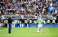 Football - 2021 / 2022 Scottish Premier League - Glasgow Rangers vs Celtic - Ibrox Stadium - Sunday 29th August 2021<br /> <br /> The Rangers fans unveil a banner at full time<br /> <br /> Credit: COLORSPORT/Bruce White