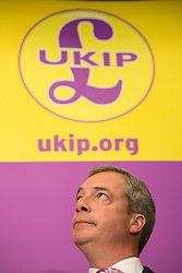 ***LNP BEST OF WEEK SELECTION*** © licensed to London News Pictures. London, UK 08/05/2014. UKIP Leader Nigel Farage launches UKIP's local election campaign at Intercontinental Hotel in London on Thursday, 08 May 2014. Photo credit: Tolga Akmen/LNP