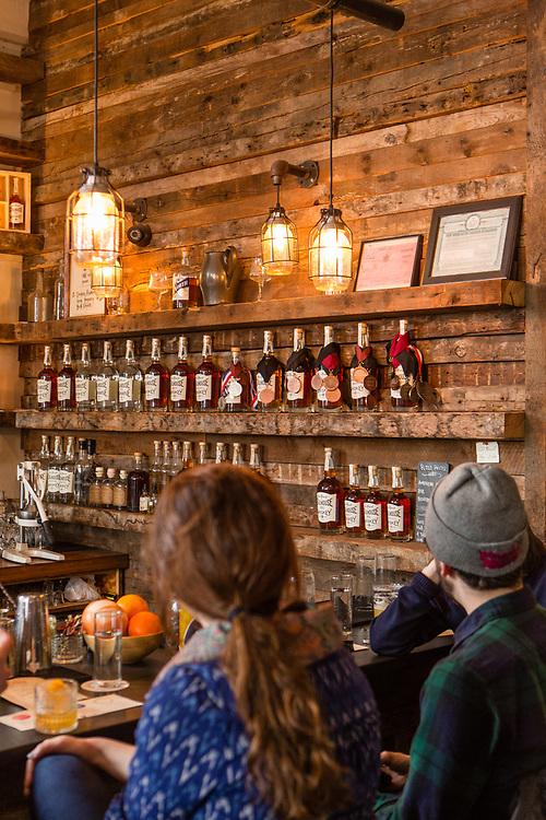 The tasting room of the Van Brunt Stillhouse in Brooklyn's Red Hook neighborhood.
