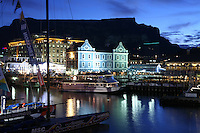 Cape Town, South Africa The Republic of South Africa. Cape Town (Kaapstad). Waterfront - Victoria Basin with historical buildings. Devil's Peak and Table Mountain in the background