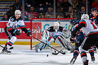 KELOWNA, BC - JANUARY 11: Orrin Centazzo #19 of the Kamloops Blazers takes a shot and scores the first goal for his team on Cole Schwebius #31 of the Kelowna Rockets during first period at Prospera Place on January 11, 2020 in Kelowna, Canada. (Photo by Marissa Baecker/Shoot the Breeze)