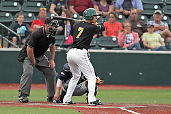 06 July 2013:  Oscar Garcia bats in front of catcher Matt Mirabal and plate umpire MArk Winters during a Frontier League Baseball game between the Gateway Grizzlies and the Normal CornBelters at Corn Crib Stadium on the campus of Heartland Community College in Normal Illinois