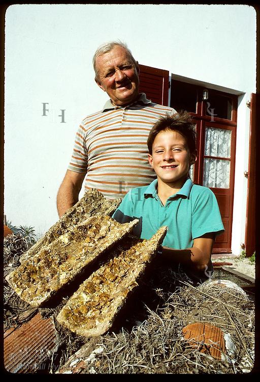 Joseph Camenen, former breeder of European flat oyster, with old hatching tiles & grandson. France