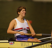 Bled, Slovenia, YUGOSLAVIA. GBR W4- .Bow, Fiona JOHNSTONE,  1989 World Rowing Championships, Lake Bled. [Mandatory Credit. Peter Spurrier/Intersport Images]
