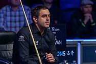 Ronnie O'Sullivan looks on as he see's the final frame slipping away. Quarter Final between Ronnie O'Sullivan vs Mark Selby during the 19.com Home Nations Scottish Open at the Emirates Arena, Glasgow, Scotland on 13 December 2019.