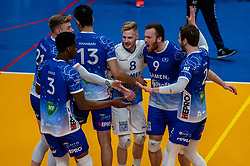 Bennie Tuinstra of Lycurgus, Steven Ottevanger of Lycurgus, Erik van der Schaaf of Lycurgus celebrate during the second final league match between Amysoft Lycurgus vs. Draisma Dynamo on April 24, 2021 in Groningen.