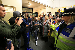 20 February 2017 - The FA Cup - (5th Round) - Sutton United v Arsenal - Alexis Sanches of Arsenal makes his way through the media pack inside the lobby at Gander Green Lane - Photo: Marc Atkins / Offside.