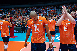 11-08-2019 NED: FIVB Tokyo Volleyball Qualification 2019 / Netherlands - USA, Rotterdam<br /> Final match pool B in hall Ahoy between Netherlands vs. United States (1-3) and Olympic ticket  for USA / Wessel Keemink #2 of Netherlands, Nimir Abdelaziz #14 of Netherlands, Gijs van Solkema #15 of Netherlands