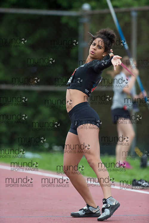 (Ottawa, Canada---08 July 2017) Keira McCarrell competing in the U20 javelin at the 2017 Canadian Track and Field Championships. (Photo by Sean W Burges / Mundo Sport Images).