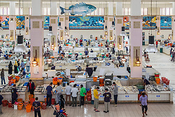 Interior of Fish market at Souq Sharq in Kuwait City, Kuwait.