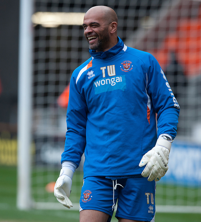 Blackpool's Goalkeeping Coach Tony Warner during the pre-match warm-up <br /> <br /> Photo by Stephen White/CameraSport<br /> <br /> Football - The Football League Sky Bet Championship - Blackpool v Yeovil Town - Saturday 5th April 2014 - Bloomfield Road - Blackpool<br /> <br /> © CameraSport - 43 Linden Ave. Countesthorpe. Leicester. England. LE8 5PG - Tel: +44 (0) 116 277 4147 - admin@camerasport.com - www.camerasport.com