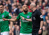 Football - 2018 / 2019 Premier League - Arsenal vs. Brighton & Hove Albion<br /> <br /> Bruno (Brighton & Hove Albion) protests to Referee Anthony Taylor after his penalty award at The Emirates.<br /> <br /> COLORSPORT/DANIEL BEARHAM