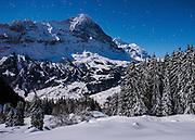 Postkarte A6: Eiger und Jungfrau im Vollmondlicht, Grindelwald (0233)