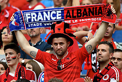 15.06.2016, Stade Velodrome, Marseille, FRA, UEFA Euro, Frankreich, Frankreich vs Albanien, Gruppe A, im Bild General view of the stadium showing Albania fans // General view of the stadium showing Albania fans during Group A match between France and Albania of the UEFA EURO 2016 France at the Stade Velodrome in Marseille, France on 2016/06/15. EXPA Pictures © 2016, PhotoCredit: EXPA/ Focus Images/ Kristian Kane<br /> <br /> *****ATTENTION - for AUT, GER, FRA, ITA, SUI, POL, CRO, SLO only*****