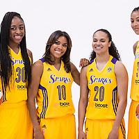 Los Angeles Sparks forward Nneka Ogwumike (30), Los Angeles Sparks guard Lindsey Harding (10), Los Angeles Sparks guard Kristi Toliver (20), Los Angeles Sparks forward/center Candace Parker (3)