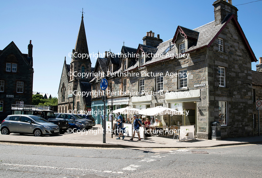 Habitat Cafe in The Square, Aberfeldy who are no longer accepting cash payments as a result of the Royal Bank of Scotland closing the branch in the Perthshire town…(The branch can be seen to the left of the photo)<br />Picture by Graeme Hart.<br />Copyright Perthshire Picture Agency<br />Tel: 01738 623350  Mobile: 07990 594431