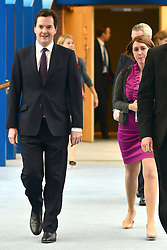 © Licensed to London News Pictures. 18/11/2012. FILE PICTURE DATED 8/10/12. Poppy Mitchell-Rose (Right) walks with George Osborne. George Osborne's long serving aide Poppy Mitchell Rose is leaving the Chancellor's office to work in the private sector in America. She is to be replaced by Thea Rogers.   Photo credit : Stephen Simpson/LNP