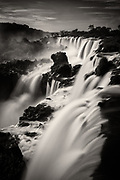 An up-close view of the spectacular Iguazu Falls, Argentina. A 2-second exposure