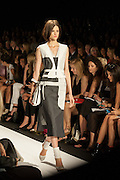 A black, white and gray dress at the BCBGMAXAZRIA show at the Spring 2013 Mercedes Benz Fashion Week show in New York.