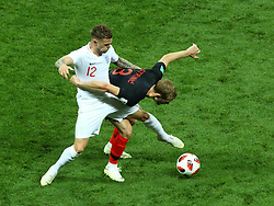 July 11, 2018 - Moscow, Russia - July 11, 2018, Moscow, FIFA World Cup 2018 Football, the playoff round. 1/2 finals of the World Cup. Football match Croatia - England at the stadium Luzhniki. Player of the national team Kieran Trippierre (12), Ivan Strinich  (Credit Image: © Russian Look via ZUMA Wire)