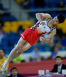 DOHA, Nov. 3, 2018  Shirai Kenzo of Japan competes during the men's floor exercise final at the 2018 FIG Artistic Gymnastics World Championships in Doha, capital of Qatar, Nov. 2, 2018. Shirai won the silver with 14.866 points. (Credit Image: © Yangyuanyong/Xinhua via ZUMA Wire)