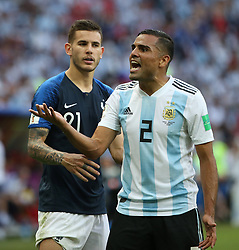 KAZAN, June 30, 2018  Gabriel Mercado (R) of Argentina reacts during the 2018 FIFA World Cup round of 16 match between France and Argentina in Kazan, Russia, June 30, 2018. France won 4-3 and advanced to the quarter-final. (Credit Image: © Li Ming/Xinhua via ZUMA Wire)