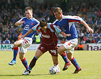 Photo: Steve Bond.<br />Scunthorpe United v Carlisle United. Coca Cola League 1. 05/05/2007. Billy Sharp (C) bursts between Kevein gall (L) and Danny Livesey (R)