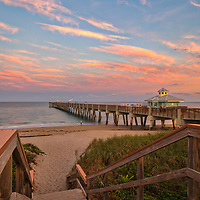 South Florida photography of Juno Pier Fishing Pier and beach at sunset. This pier is located in Palm Beach County, FL. <br />