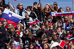 Fans of Slovenia during Flying Hill Individual Qualifications at 1st day of FIS Ski Jumping World Cup Finals Planica 2012, on March 15, 2012, Planica, Slovenia. (Photo by Vid Ponikvar / Sportida.com)