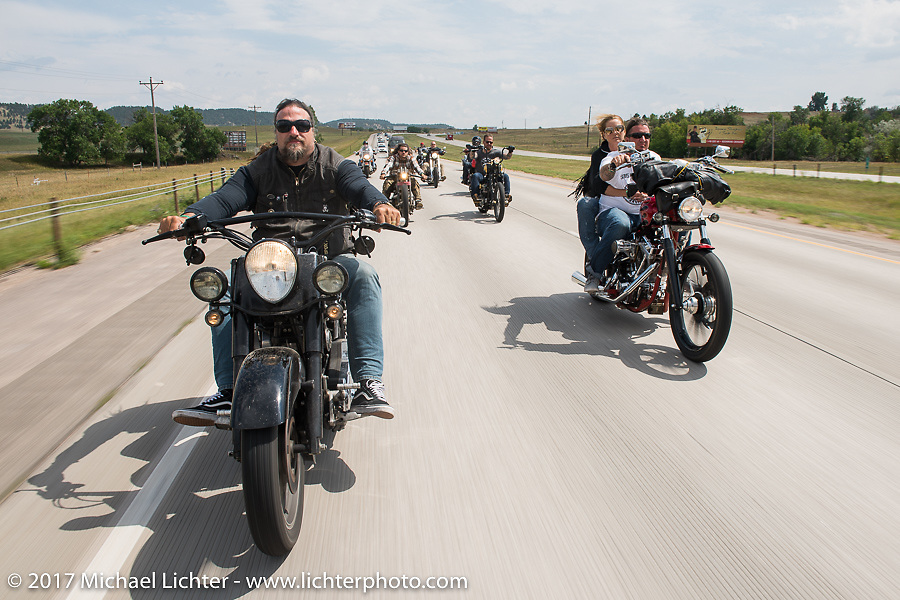 Randy Noldge and Aaron Greene on Aidan's Ride to raise money for the Aiden Jack Seeger nonprofit foundation to help raise awareness and find a cure for ALD (Adrenoleukodystrophy) during the annual Sturgis Black Hills Motorcycle Rally. I-90 between Rapid City and Sturgis, SD, USA. Tuesday August 8, 2017. Photography ©2017 Michael Lichter.