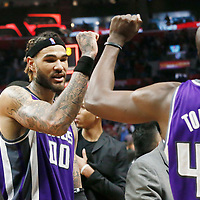 26 March 2016: Sacramento Kings center Willie Cauley-Stein (00) celebrates with Sacramento Kings forward Anthony Tolliver (43) during the Sacramento Kings 98-97 victory over the Los Angeles Clippers, at the Staples Center, Los Angeles, California, USA.