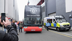 © Licensed to London News Pictures. 21/05/2016. London, UK. Fans and supporters gather outside the Hilton hotel near Wembley Stadium to see the players of Manchester United board the team bus for the short journey to Wembley Stadium ahead of the FA Cup Final against Crystal Palace. Photo credit : Stephen Chung/LNP