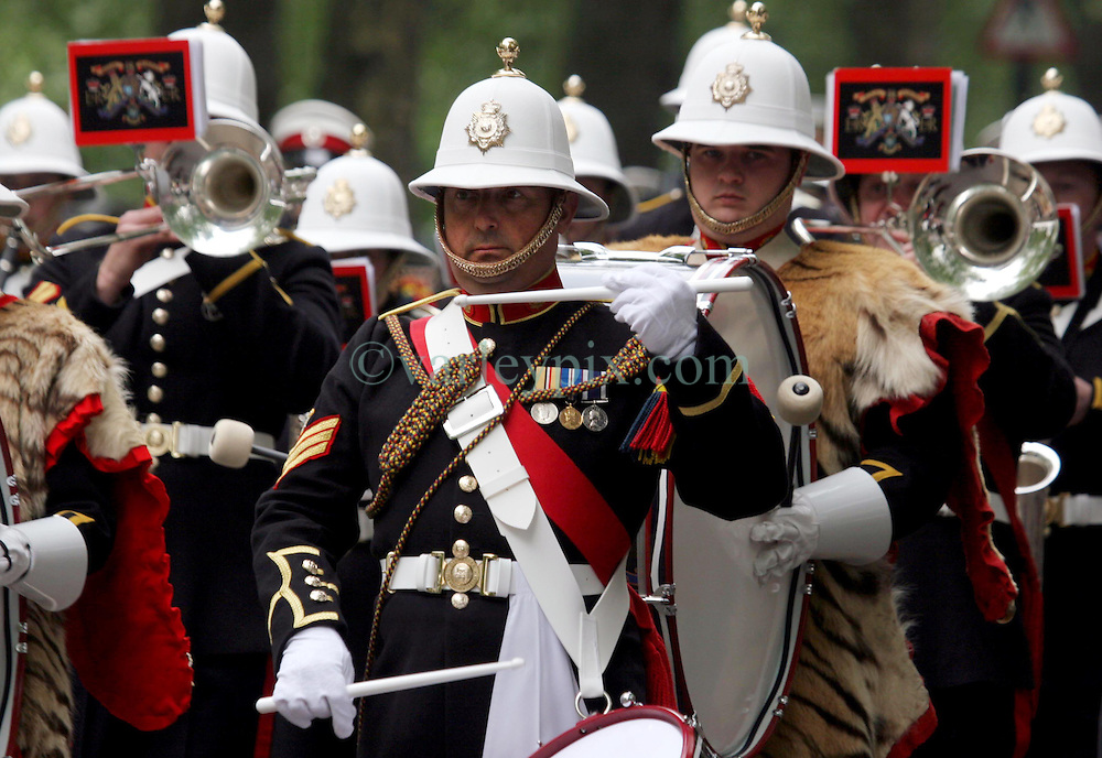 29 April 2011. London, England..Royal wedding day. British pomp and ceremony with military processions and marching bands..Photo; Charlie Varley.