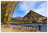 Fishing in The Colorado River during autumn just west of Grand Junction Colorado, USA