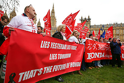 © Licensed to London News Pictures. 06/03/2019. London, UK. Hundreds of Honda workers protest outside Houses of Parliament, lobbying Members of Parliament to save the plant in Swindon. The company made an announcement last month that the plant will close by 2021, with the loss of 3,500 jobs and possibly 12,000 jobs or more across the country. Photo credit: Dinendra Haria/LNP