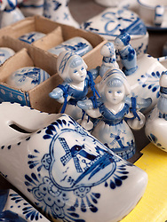 Traditional Dutch porcelein figures for sale on stall at Waterlooplein market in Amsterdam The Netherlands