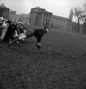 Scrum half Coughtrie in action,..Irish Rugby Football Union, Ireland v Scotland, Five Nations, Scottish team practice at college park, Dublin, Ireland, Friday 23rd February, 1962,.23.2.1962, 2.23.1962,..  Scottish Team, ..K J F Scotland, Wearing number 15 Scottish jersey,  Full Back, Leicester Rugby Football Club, Leicester, England, ..R C Cowan, Wearing number 11 Scottish jersey,  Left Wing, Selkirk Rugby Football Club, Selkirk, Scotland, ..I H P Laughland, Wearing number 12 Scottish jersey, Left Centre, London Scottish Rugby Football Club, Surrey, England, ..J J McPartlin, Wearing number 13 Scottish jersey,  Right Centre, Oxford University Rugby Football Club, Oxford, England,..A R Smith, Wearing number 14 Scottish jersey, Captain of the Irish team,  Right Wing, Edinburgh University Rugby Football Club, Edinburgh, Scotland, ..G H Waddell, Wearing number 10 Scottish jersey,  Stand Off, London Scottish Rugby Football Club, Surrey, England, ..S Coughtrie, Wearing number 9 Scottish jersey,  Scrum Half, Edinburgh Academical Rugby Football Club, Edinburgh, Scotland, ..H F McLeod, Wearing number 1 Scottish jersey,  Forward,  Hawick Rugby Football Club, Hawick, Scotland, ..N S Bruce, Wearing number 2 Scottish jersey,  Forward, London Scottish Rugby Football Club, Surrey, England, ..R Steven , Wearing number 3 Scottish jersey, Forward, Edinburgh Wanderers Rugby Football Club, Edinburgh, Scotland, ..F H ten Bos, Wearing number 4 Scottish jersey,  Forward, London Scottish Rugby Football Club, Surrey, England, ..M J Campbell-Lamberton, Wearing number 5 Scottish jersey, Forward, Halifax Rugby Football Club, Yorkshire, England, ..R J C Glasgow, Wearing number 6 Scottish jersey,  Forward, Dunfermline Rugby Football Club, Fife, Scotland, ..J Douglas, Wearing number 8 Scottish jersey, Forward, Stewarts College Rugby Football Club, Edinburgh, Scotland, ..K I Ross, Wearing number 7 Scottish jersey, Forward, Boroughmuir Rugby Football Club, Edinburgh, Scotland,