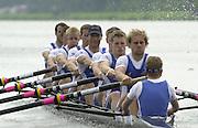 2002 FISA World Cup. Hazewinkel. BEL.       Friday  14/06/2002     .email images@Intersport-images.com.[Mandatory Credit: Peter Spurrier/Intersport Images]  .                                 /06/2002.Rowing. GBR M8+. Tom STALLARD (b) , Chris MARTIN (2) , Alex PARTRIDGE (3) , Kieran WEST (4) , Luka GRUBOR (5) , Steve TRAPMORE (6) , Robin BOURNE-TAYLOR (7) , Dan OUSELEY (s) , Christian CORMACK (c) Rowing, FISA WC.Hazenwinkel, BEL