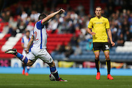 Craig Conway of Blackburn Rovers shoots to score the first goal of the game to make it 1-0 during the EFL Sky Bet Championship match between Blackburn Rovers and Burton Albion at Ewood Park, Blackburn, England on 20 August 2016. Photo by Simon Brady.
