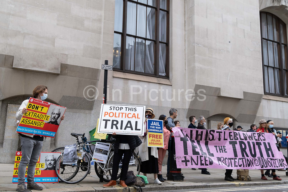 Supporters of Wikileaks founder Julian Assange protest outside Londons Old Bailey court as his fight against extradition to the US has resumed, on 7th September 2020, in London, England. Assange has been in Belmarsh Prison for 16 months and is wanted over the publication of classified documents in 2010 and 2011. If convicted in the US, he faces a possible penalty of 175 years in jail.
