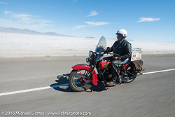 Kenney Sweeney on his 1934 Harley-Davidson VLD during Stage 12 (299 m) of the Motorcycle Cannonball Cross-Country Endurance Run, which on this day ran from Springville, UT to Elko, NV, USA. Wednesday, September 17, 2014.  Photography ©2014 Michael Lichter.