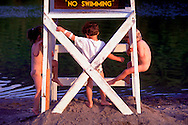 Young Children Playing Lifeguard Stand, Kenneth L. Wilson State DEC campground, Mt Temper, NY, Catskills