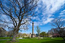 Garden in St Andrew Square closed during the coronavirus lockdown in Edinburgh, Scotland, UK