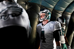 Philadelphia Eagles quarterback Kevin Kolb #4 prepares to enter the field before the NFL game between the Tampa Bay Buccaneers and the Philadelphia Eagles on October 11th 2009. The Eagles won 33-14 at Lincoln Financial Field in Philadelphia, Pennsylvania. (Photo By Brian Garfinkel)