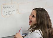 Sixth graders study geography in Spanish at Wharton K-8 Dual Language, April 16, 2015.