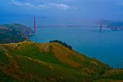 Golden Gate Bridge and San Francisco bay from hillsides