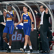 Lotos Gdynia's coach Javier FORT (R) and Aneika HENRY (L), Justyna ZUROWSKA (C) during their woman Euroleague group A matchday 5 Galatasaray between Lotos Gdynia at the Abdi Ipekci Arena in Istanbul at Turkey on Wednesday, November 09 2011. Photo by TURKPIX