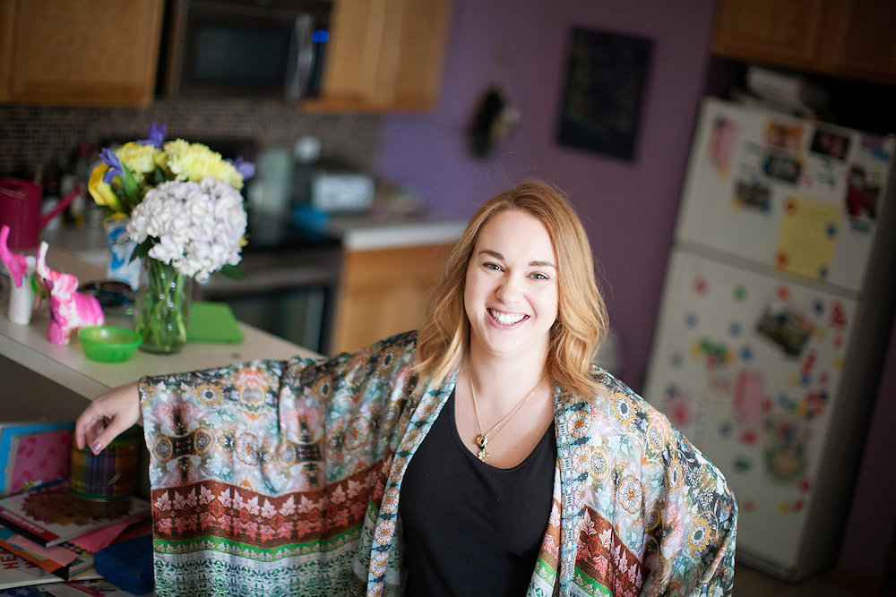 Claire Nielsen photographed at her family's home in Maple Grove June 9, 2015. Claire carried twins as a gestational surrogate for a California couple and gave birth to them in December of 2014.  (Courtney Perry/Special to the Star Tribune)