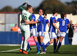 Birmingham City goalkeeper Ann-Katrin Berger celebrates after saving a penalty from Chelsea's Karen Carney (not pictured) during the Women's Super League match at the Automated Technology Group Stadium, Solihull.